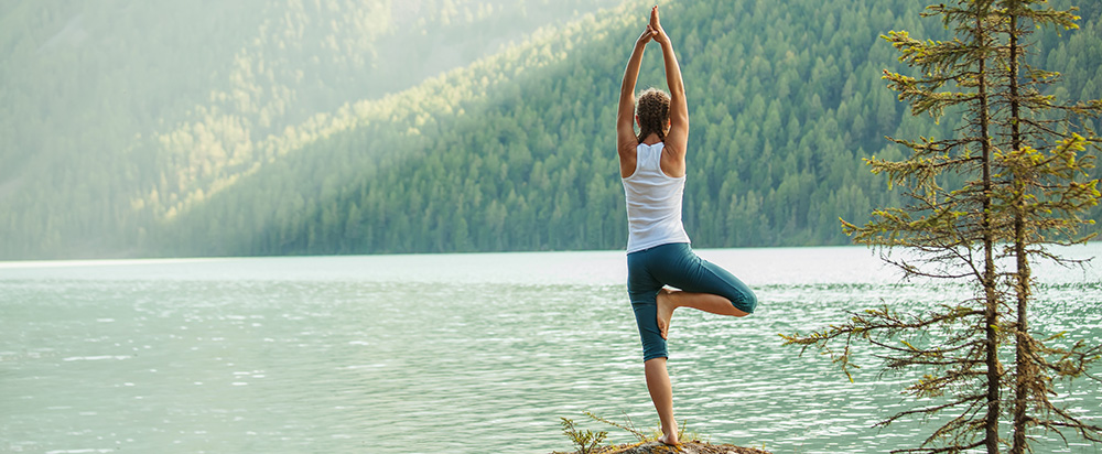 Practicing Yoga and Being Calm at Peaceful Lake