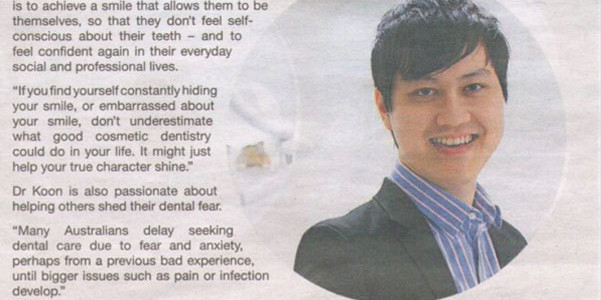 Dr. Koon Cosmetic Dentistry Newspaper Clipping